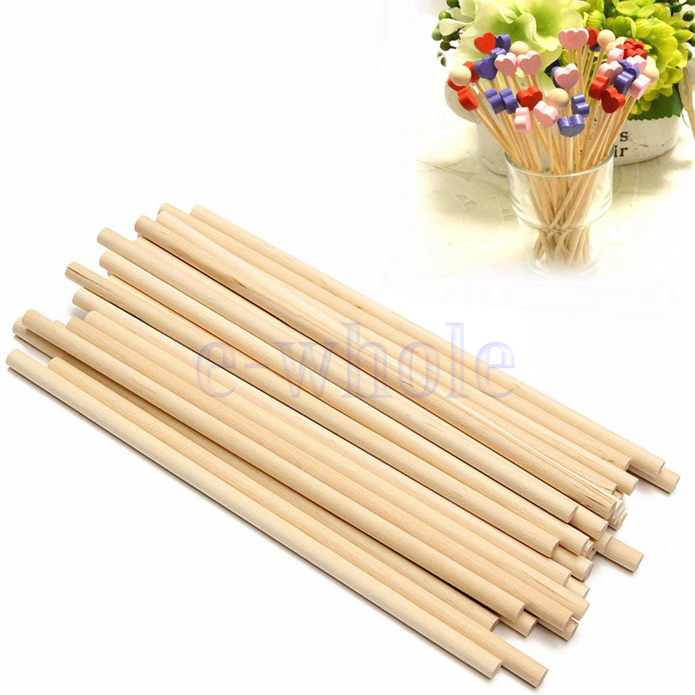 100pcs 150mm round wooden lollipop lolly sticks cake dowel